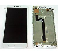Дисплей для Xiaomi Mi Max 2 с тачскрином и рамкой белый Оригинал
