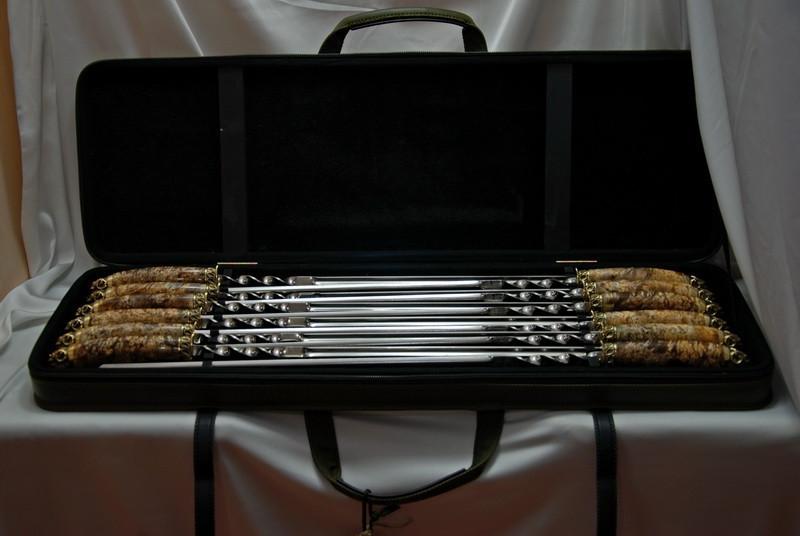 """Набор шампуров ручной работы """"Золотое руно"""" в кейсе из эко-кожи, 12шт"""