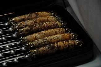 """Набор шампуров ручной работы """"Золотое руно"""" в кейсе из эко-кожи, 12шт, фото 2"""