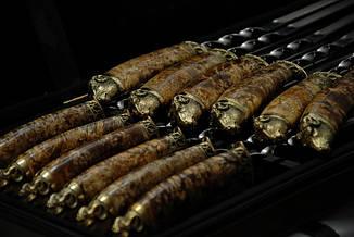 """Набір шампурів ручної роботи """"Золоте руно"""" в кейсі з еко-шкіри, 12шт, фото 2"""