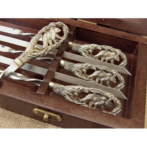 """Шампура с бронзовыми ручками """"Медведи"""" в кейсе из бука, 6шт"""