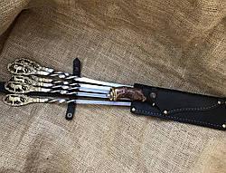 """Шампура ручной работы """"Львы"""" с красивым ножом, фото 3"""