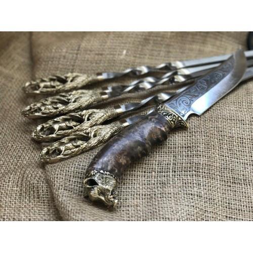 """Шампуры ручной работы """"Кабан"""" с подарочным ножом"""