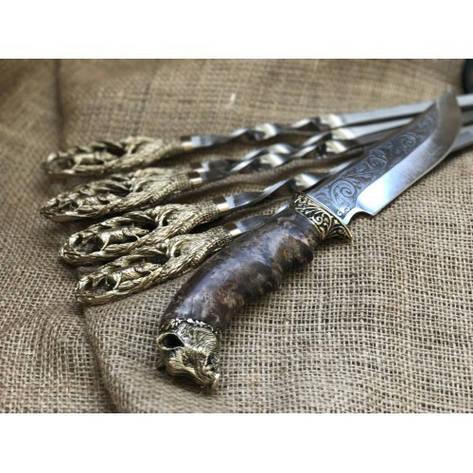 """Шампуры ручной работы """"Кабан"""" с подарочным ножом, фото 2"""