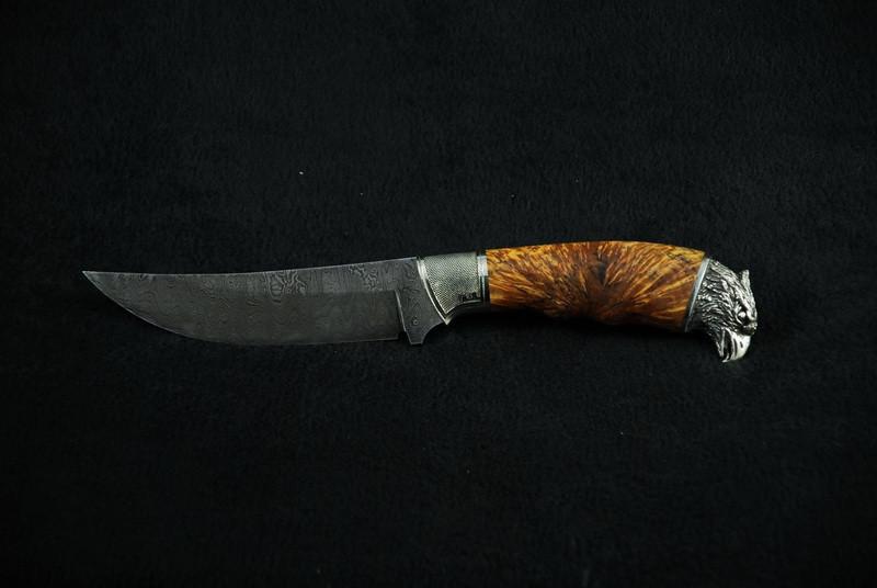 Нож для охоты ручной работы «Сокол», дамасск