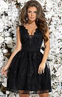 Платье тюльпан вечернее ( выпускное ) с фатином гипюровое на подкладке с декольте без рукавов Цвет : Черный Размер : 42 44 46 Материал : гипюр,