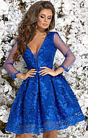 Платье тюльпан вечернее ( выпускное ) с фатином гипюровое на подкладке с декольте Цвет : Электрик Размер : 42 44 46 Материал : гипюр, подкладка,