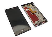 Дисплей Huawei Ascend P7 Sophia L10 с тачскрином и рамкой черный Оригинал