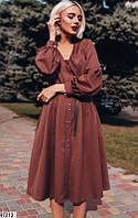 a8527af9580 Платье - рубашка с поясом миди ниже колена повседневное на пуговицах  расклешенное ( клеш ) с