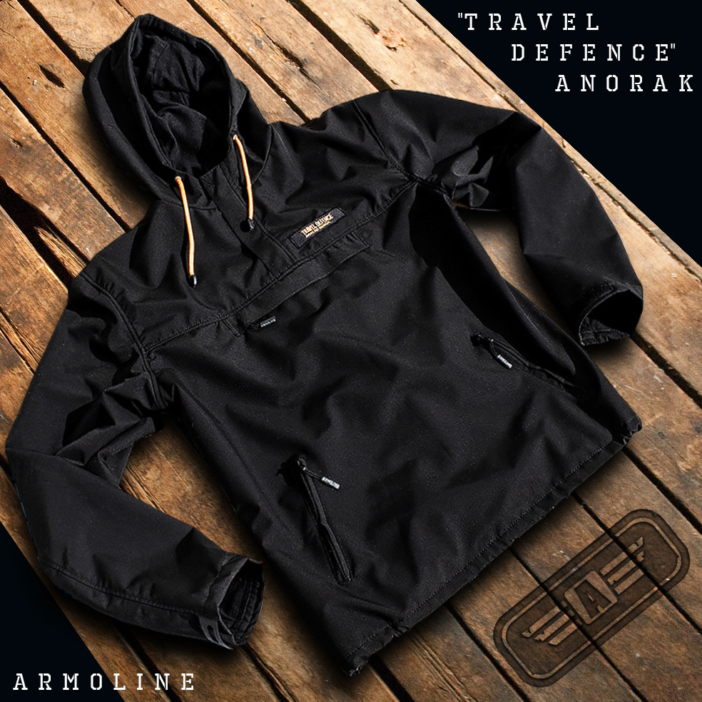 "Анорак - ветровка ""TRAVEL DEFENCE"" (Black) НА ФЛИСЕ"