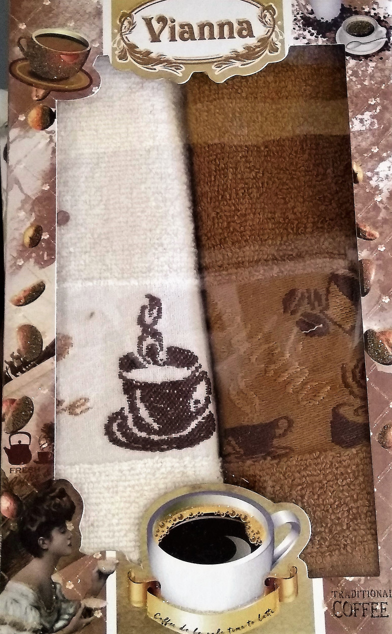 """Махровые кухонные полотенца """"Coffee"""" 30*50 см Vianna 2 шт., Турция"""