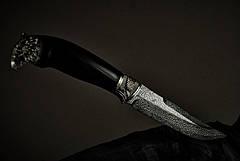 """Дизайнерский нож из мозаичного дамаска, инкрустированный камнями """"Сокол"""", фото 3"""