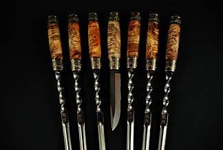 """Подарочный набор для мужчины """"Кельтский"""", оригинальные шампуры с ножом в колчане из кожи, фото 2"""