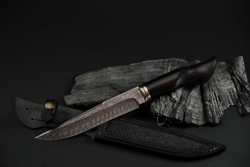 """Авторский коллекционный нож """"Брутальный"""", мозаичный дамасск"""