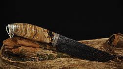 """Коллекционный нож ручной работы из зуба мамонта """"Гефест"""" мозаичный дамасск, фото 3"""