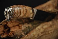 """Коллекционный нож ручной работы из зуба мамонта """"Гефест"""" мозаичный дамасск, фото 2"""