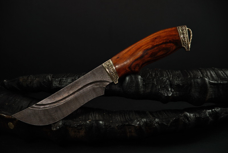 """Охотничий нож ручной работы из дамасской стали """"Гефест"""""""