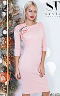 Платье карандаш футляр с декольте вечернее выпускное ( повседневное ) с разрезом длинные рукава Цвет : Персиковый Размер : 42 44 46 48 Материал :