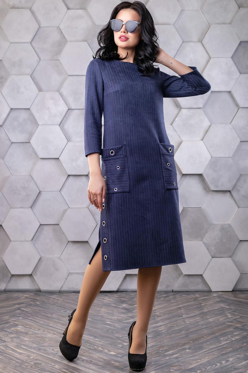 Элегантное замшевое платье 1109 (44–50р) в расцветках