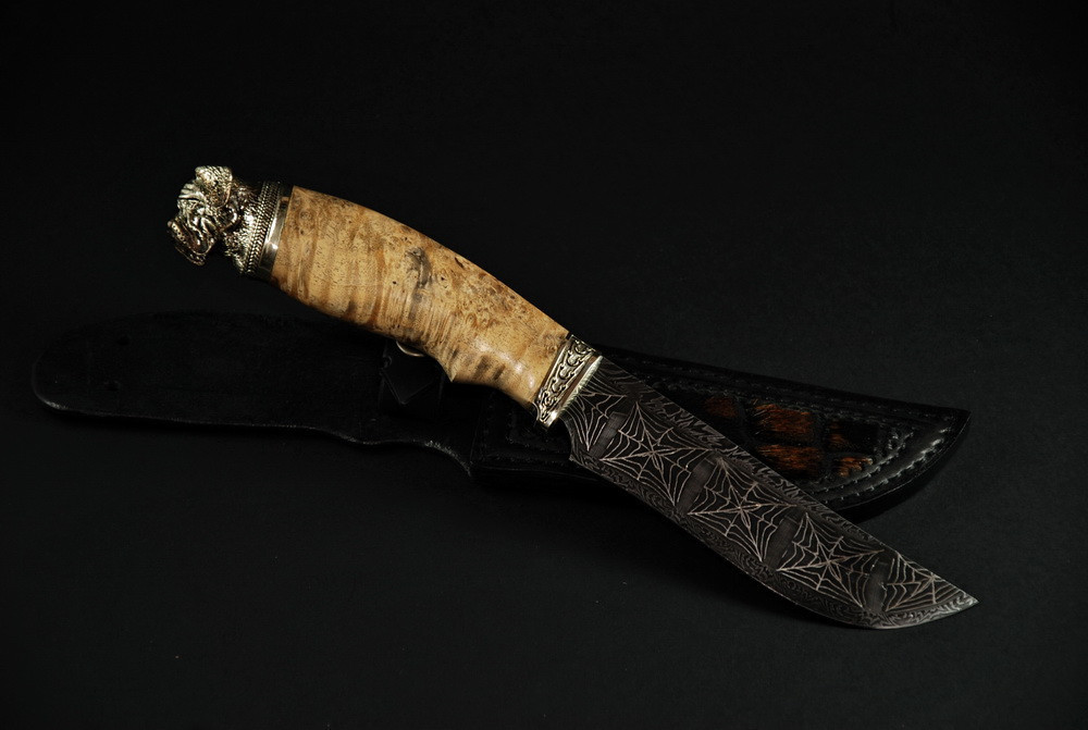 """Авторский коллекционный нож """"Mastiff"""", мозаичный дамасск"""