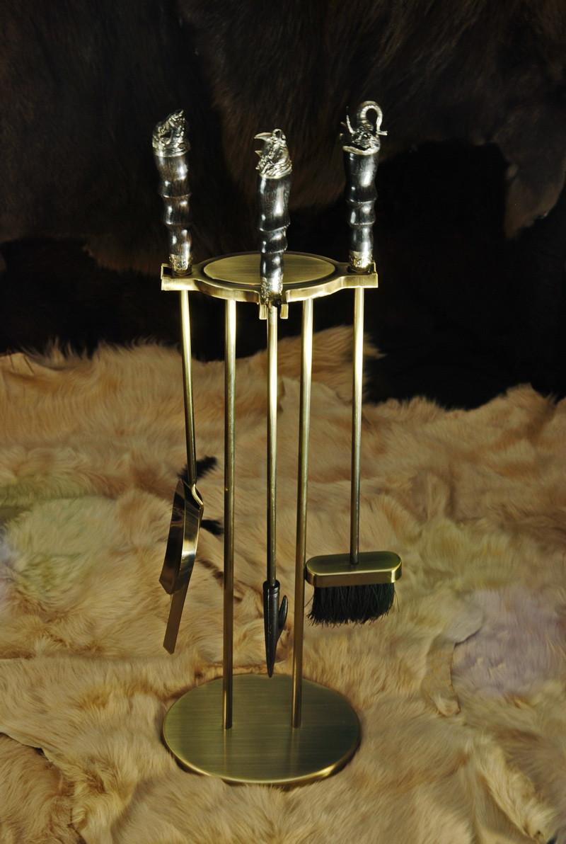 """Каминный набор ручной работы """"Сафари-2"""", из стабилизированного граба"""