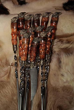 """Набор шампуров с ножом """"Сокол BIG"""" в кожаном колчане, шашлычный набор ручной работы (12шампуров с ножом), фото 2"""