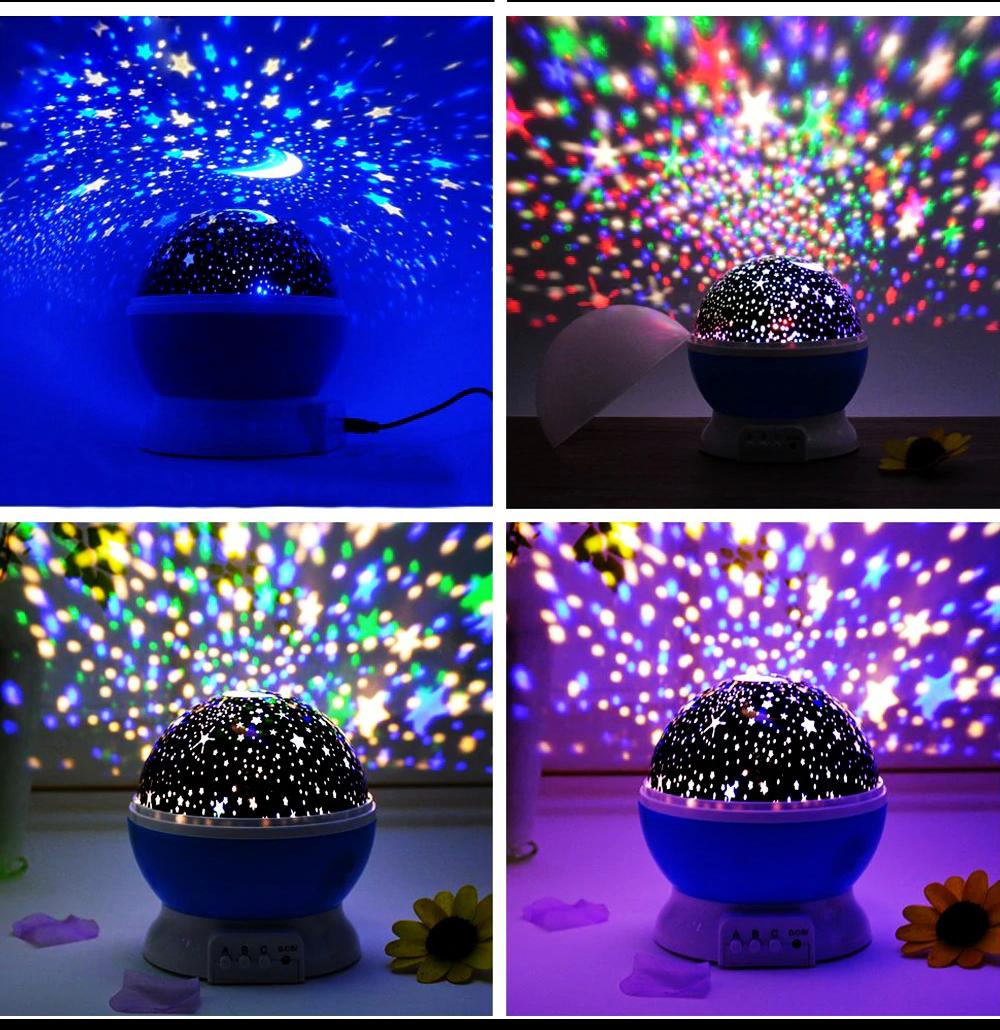 Вращающийся ночник проектор звездное небо 3D Star master big, разные цвета