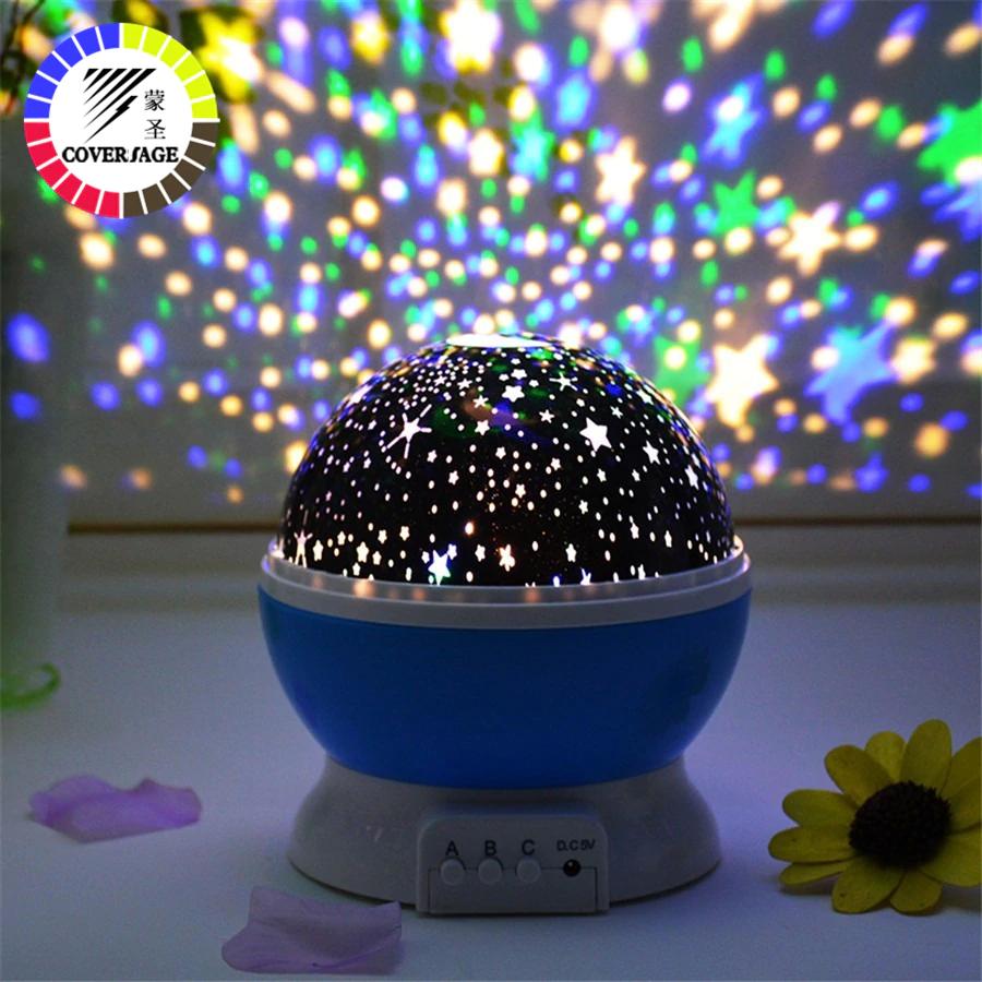 Вращающийся ночник проектор звездное небо Dream 3D Star master big, Голубой