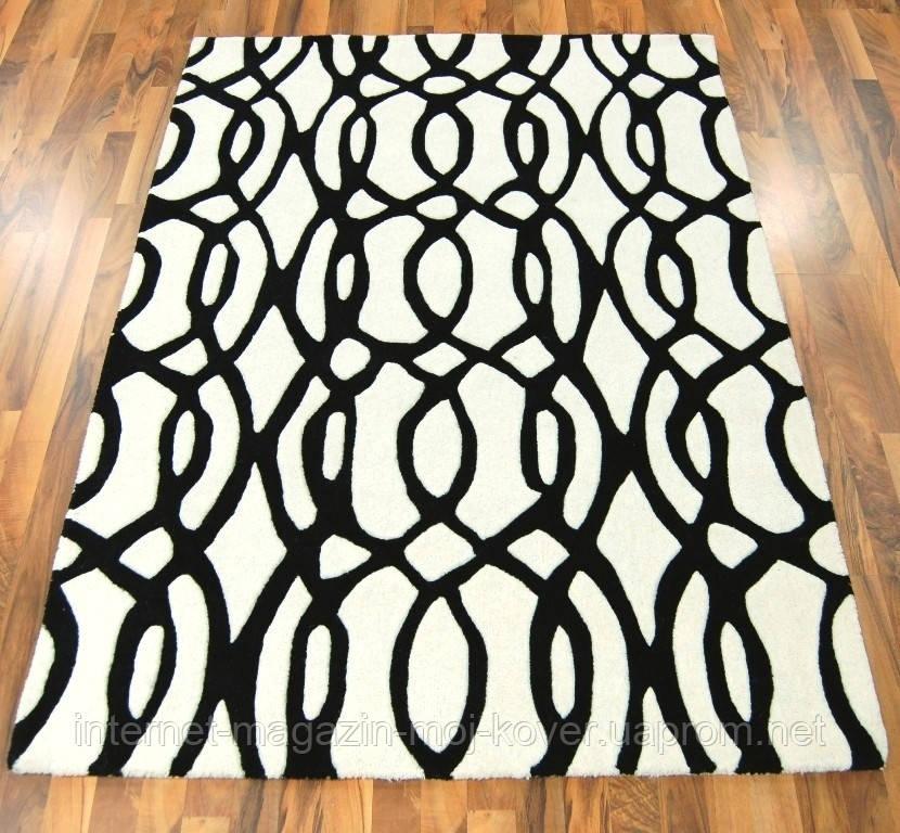 Купити килими з вовни чорно білого кольору