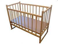 Детская кроватка из ольхи (БЕЗ ЛАКА) с качалкой , боковина НЕ ОПУСКАЕТСЯ