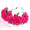 Обруч - венок на голову розы большие розово - фиолетовые тиара из цветов, фото 4
