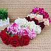 Обруч - венок на голову розы большие розово - фиолетовые тиара из цветов, фото 6