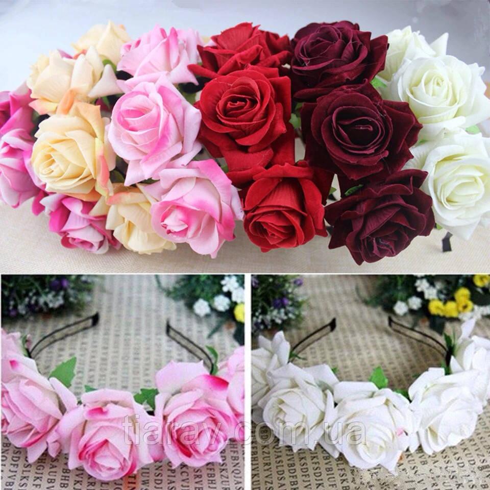 Обруч - венок на голову розы большие розово - фиолетовые тиара из цветов
