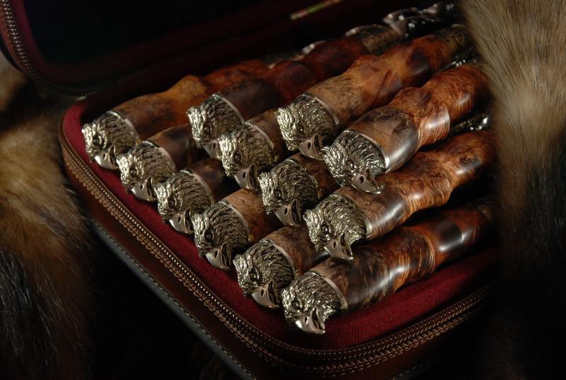 """Большой подарочный набор с шампурами """"Сокол"""" в кейсе из эко-кожи, 12шт. Элитный подарок для мужчины на юбилей."""