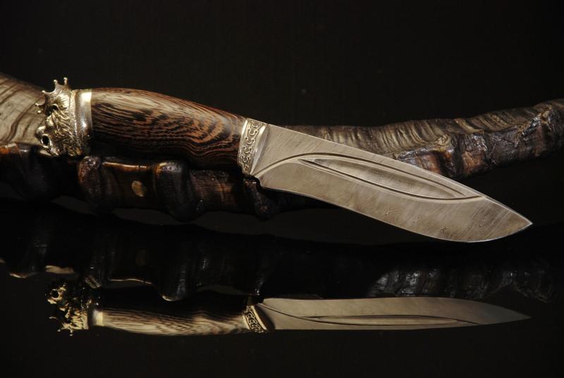 """Нож охотничий ручной работы в подарок льву """"The king of beasts""""(Король Лев), дамасская сталь"""