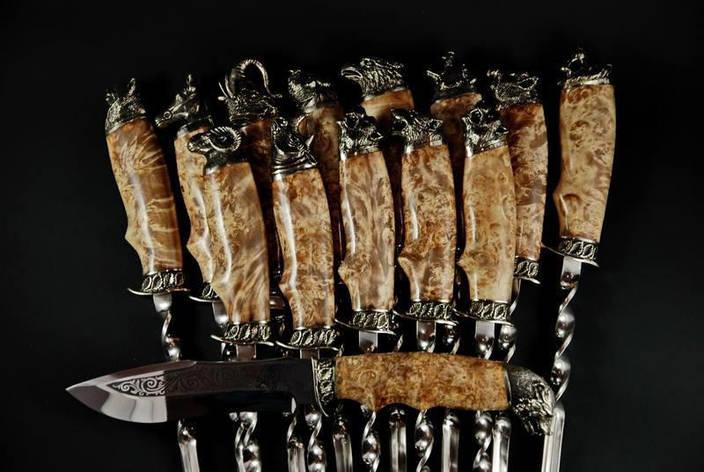 """Подарочный набор """"Охотнику"""" в колчане из кожи (13 шампуров и нож), фото 2"""