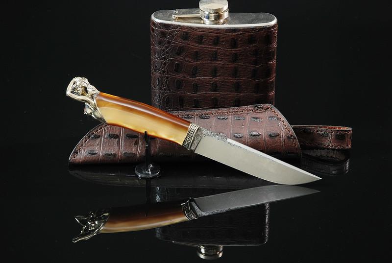 """Авторский подарочный мужской набор с ножом и флягой """"Men's desires"""""""