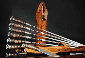 """Авторский подарочный набор для мужчины с шампурами, ножом и винным футляром  """"Men's pleasure"""" (под заказ), фото 2"""