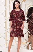 Платье женское бордовое с принтом демисезонное Турция Цвет : Бордовый Размеры : 42 44 46 Материал : хлопок креп дайвинг