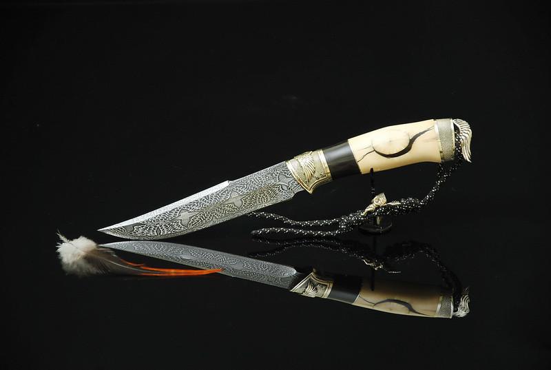 """Авторский коллекционный нож с бивнем мамонта """"Angel-1"""", мозаичный дамасск"""