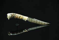 """Авторський колекційний ніж з мозаїчного дамаска з зубом мамонта """"Viking"""", фото 2"""