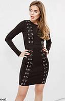 Платье женское мини весеннее летнее с длинным рукавом имитация шнуровки Цвет : Черный Размер : 42 44 46 48 Материал : дайвинг