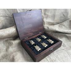 """Рибальські чарки ручної роботи """"Щуки"""" в кейсі з бука, 6шт., фото 3"""