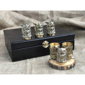 """Набор подарочных бронзовых чарок """"Совы"""" в кейсе из эко-кожи, 6шт., фото 2"""