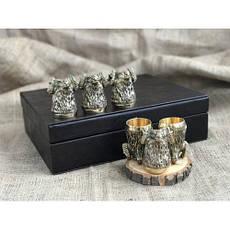 """Бронзовые стопки в подарок мужчине """"Архар"""" в кейсе из эко-кожи, 6шт., фото 2"""