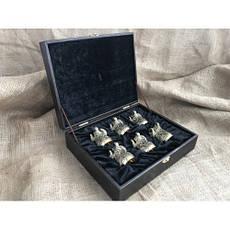 """Бронзовые стопки в подарок мужчине """"Архар"""" в кейсе из эко-кожи, 6шт., фото 3"""
