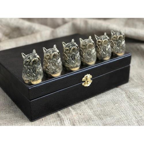 """Подарочные стопки из бронзы """"Рысь"""" в кейсе из эко-кожи, 6шт."""