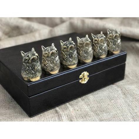 """Подарочные стопки из бронзы """"Рысь"""" в кейсе из эко-кожи, 6шт., фото 2"""