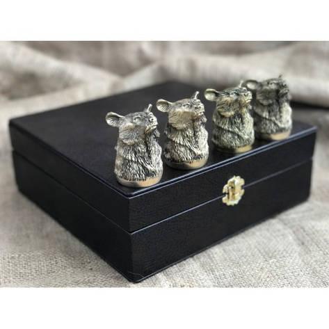 """Чарки подарочные из бронзы """"Медведи"""" в кейсе из эко-кожи, 4шт., фото 2"""