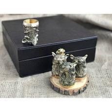 """Чарки подарочные из бронзы """"Медведи"""" в кейсе из эко-кожи, 4шт., фото 3"""